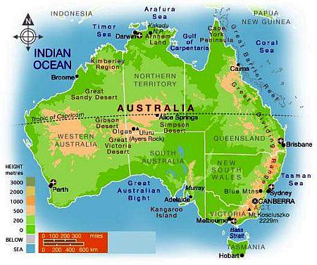 Carte Australie Montagnes.Climat Australie Temperature Precipitations Quand Partir
