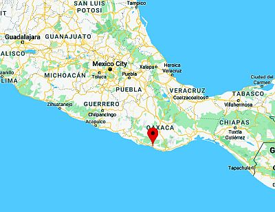 Puerto Escondido, position dans la carte