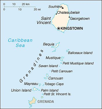 Carte - Saint Vincent Et Grenadines